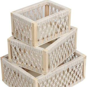 ⬇️ 3pc UO Macrame Woven Boho Storage Baskets Decor
